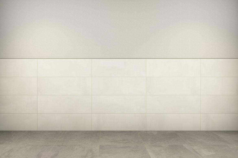 Zwischen Wand und Fliesen entstehen unterschiedliche Weißtöne.